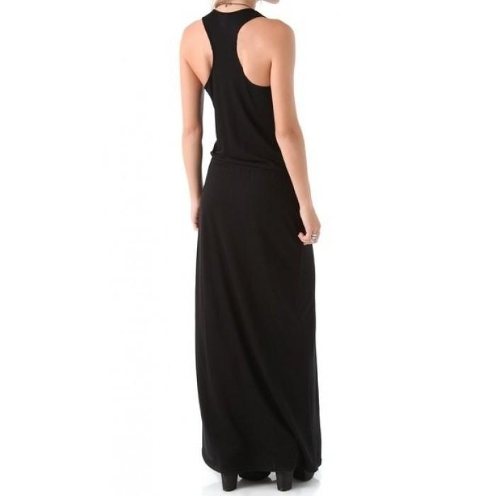askılı v yaka sporcu sırt uzun elbise