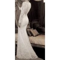 balık etekli uzun kollu dantel gelinlik elbise