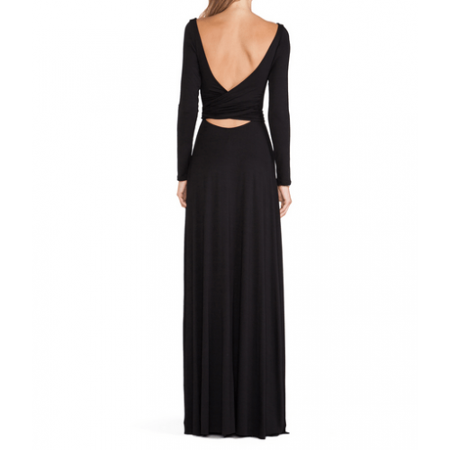 bel pencereli bol uzun etekli sırt dekolte elbise