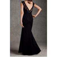 düşük kol sırt v sıralı düğmeli uzun dantel elbise