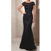 düşük kısa kol uzun dantel elbise