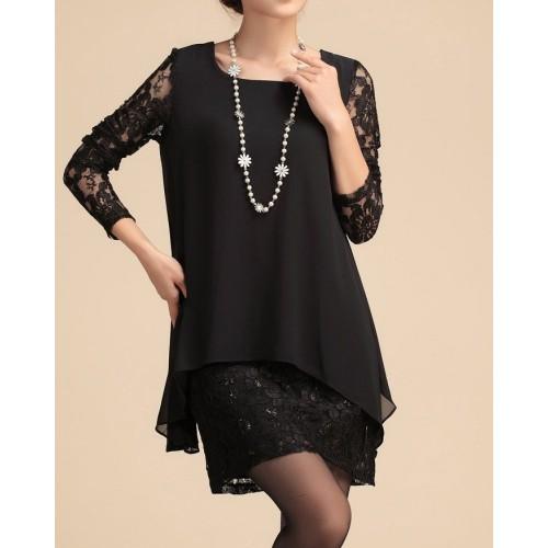 dantel üzeri şifonlu uzun kollu mini elbise