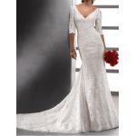 dantel gelinlik elbise sırt v dekolte yetim kol kuyruklu model