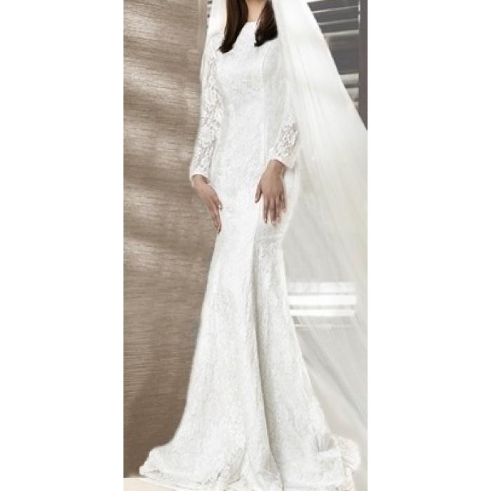dantel gelinlik elbise tesettür balık etekli düğmeli model