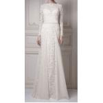 dantel gelinlik sırt v uzun kol abiye elbise