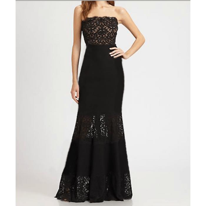 dantel straplez bantlı uzun elbise