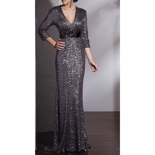 derin v yaka balık etekli kuyruklu gümüş payetli elbise