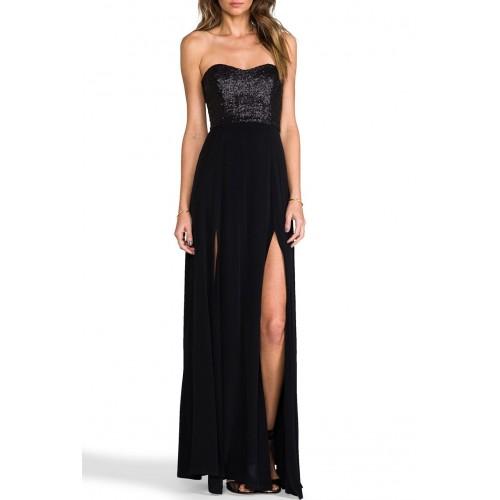 kalp yaka payetli yırtmaçlı uzun elbise
