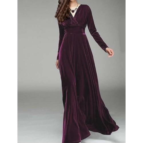kruvaze yaka uzun kadife elbise