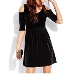 omuz açık mini kadife elbise