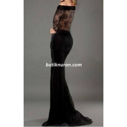 omuz dekolteli kuyruklu sırt dantel abiye uzun elbise