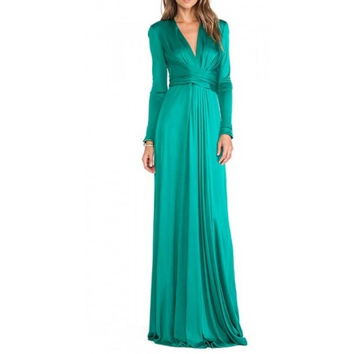 ön ve arka v bol etekli uzun abiye elbise