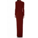ortadan derin yırtmaçlı v yaka uzun kol abiye elbise