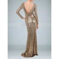 payetli uzun sırt degaje harika elbise