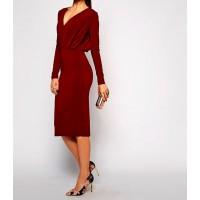 pileli yüksek bel v yaka kalem elbise
