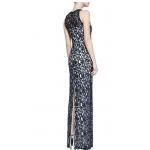 sıfır yaka kol yırtmaçlı uzun düz dantel elbise