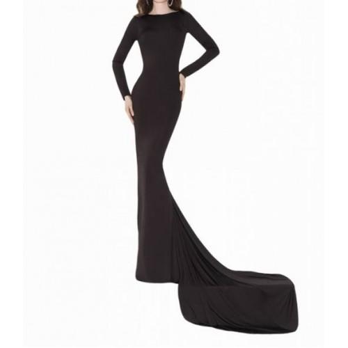 sırt dekolte açık kuyruklu uzun kollu abiye elbise
