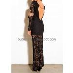 sırt detaylı zincirli uzun dantel elbise