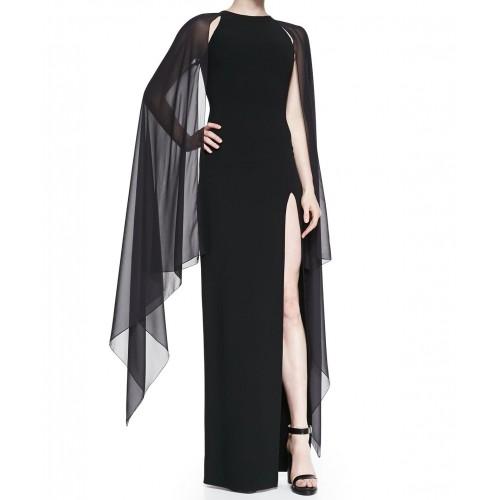 tül kollu derin yırtmaçlı siyah elbise