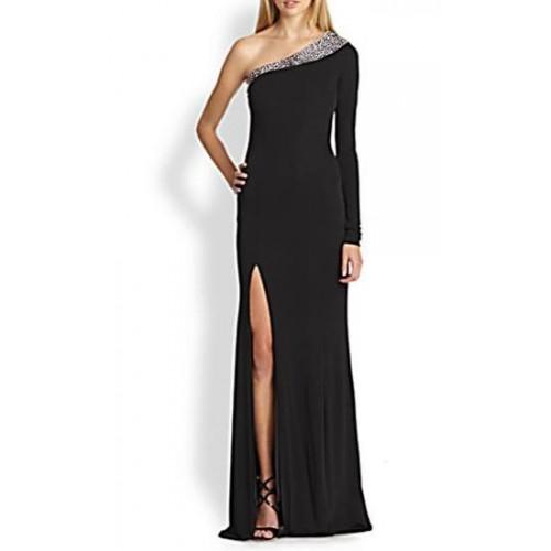 tek kol omuz yakası payetli derin yırtmaçlı maksi abiye elbise