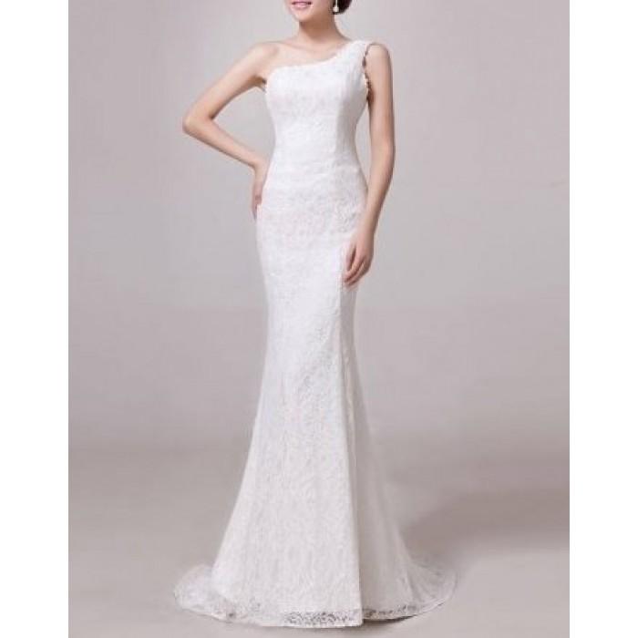 tek omuz kuyruklu sırt ip askılı uzun dantel elbise