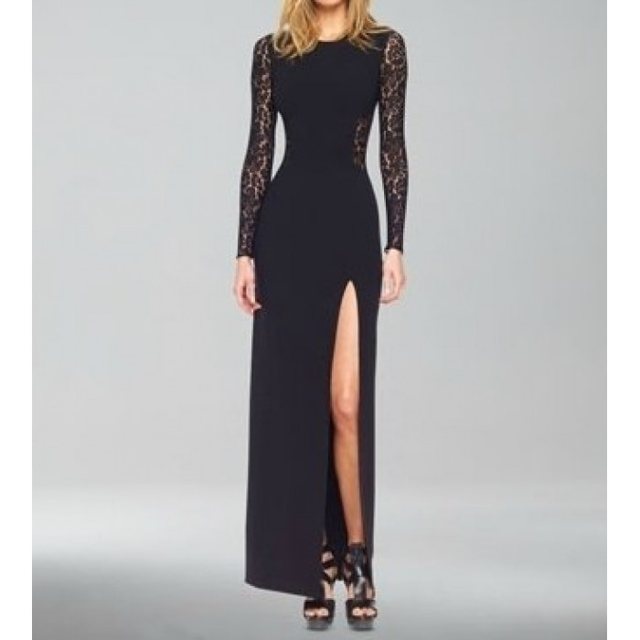 sırt dantel yırtmaçlı uzun elbise