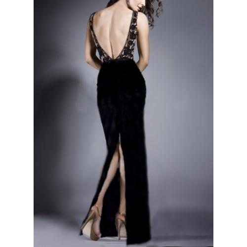 arka derin yırtmaçlı kadife etekli sırt dekolte dantelli sıfır kol elbise