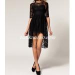 asimetrik dantel elbise