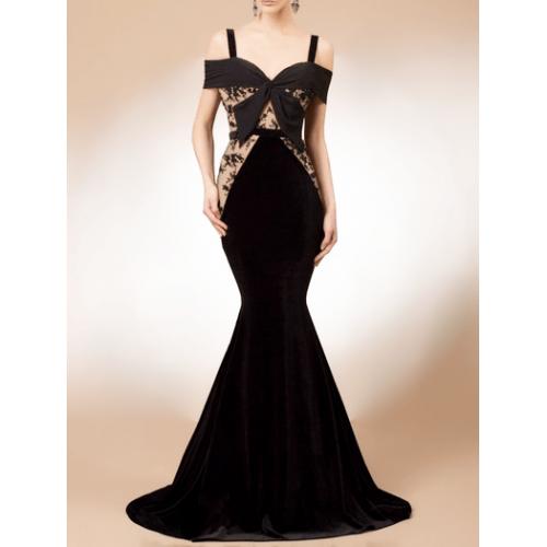 askılı kalp yaka füyonklu balık dantel kadife elbise