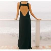 bantlı sırt dekolte kolsuz uzun elbise