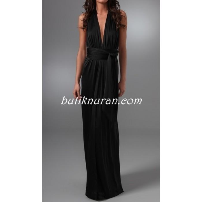 bantlı sırt dekolte uzun elbise