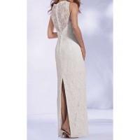 sırtı düğmeli kolsuz beyaz dantel elbise