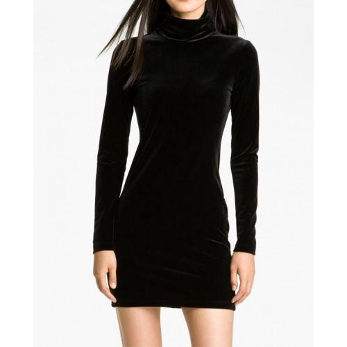 boğazlı basic kadife elbise
