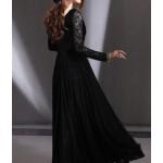 bol etekli uzun kol uzun dantel elbise