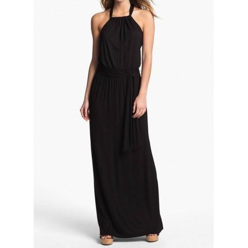 boyundan bağcıklı sırt dekolte uzun elbise