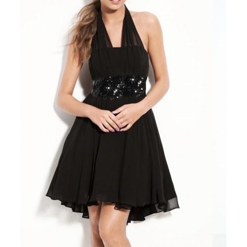 boyundan bağlamalı payetli genç balo elbise