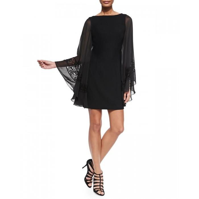 dantel bantlı tül bol kollu mini elbise