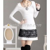 dantel detaylı mini elbise