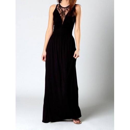 dantel detaylı sporcu sırt uzun elbise