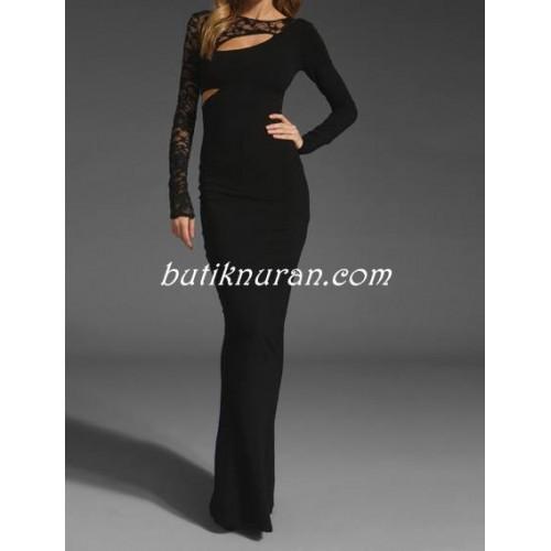 dantel detaylı uzun elbise