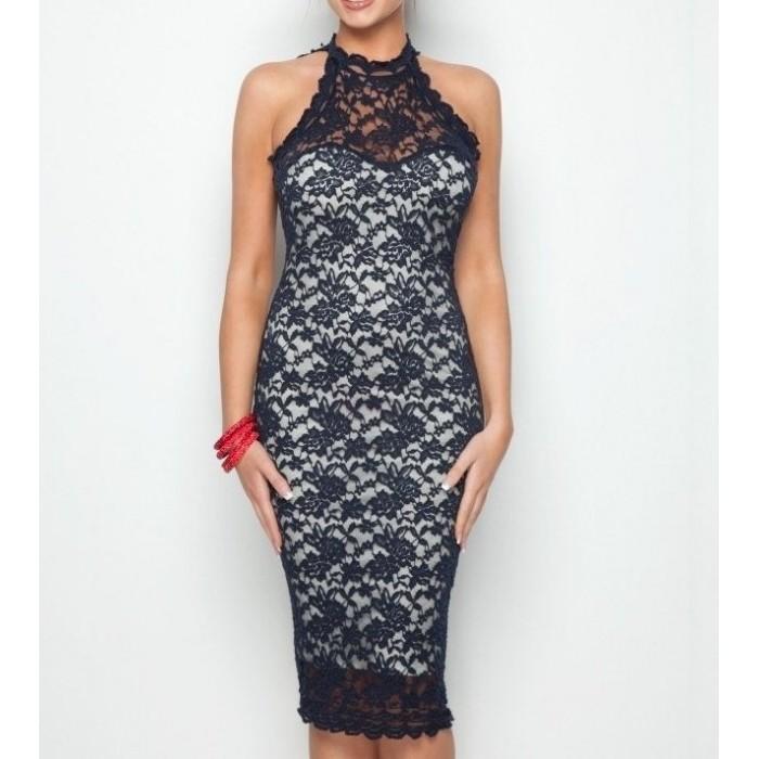 dantel sırt dekolte midi elbise