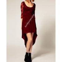 dantelli asimetrik etekli elbise