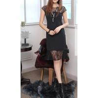 dantelli mini kısa kol elbise