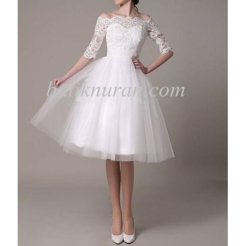 dantelli omuz açık kısa gelinlik nikah elbisesi