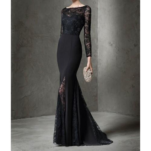 62447cae540de dantelli uzun kol sırt v uzun balık abiye elbise