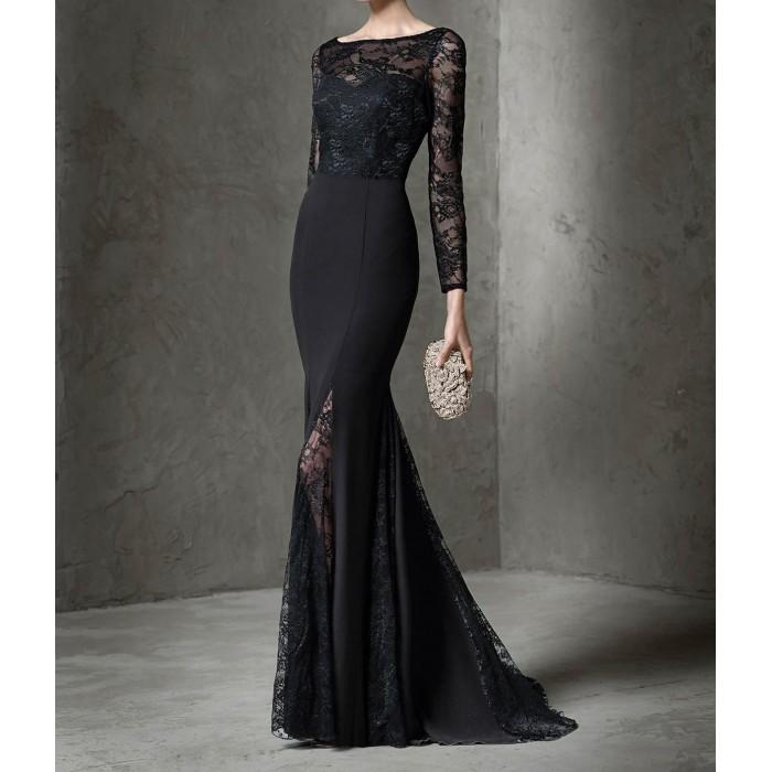 dantelli uzun kol sırt v uzun balık abiye elbise