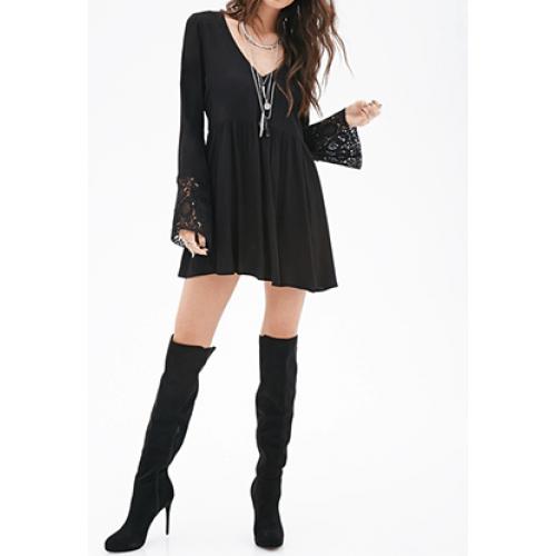 derin v yaka dantelli salaş büzgülü tunik elbise