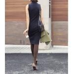 dik yaka kolsuz midi elbise