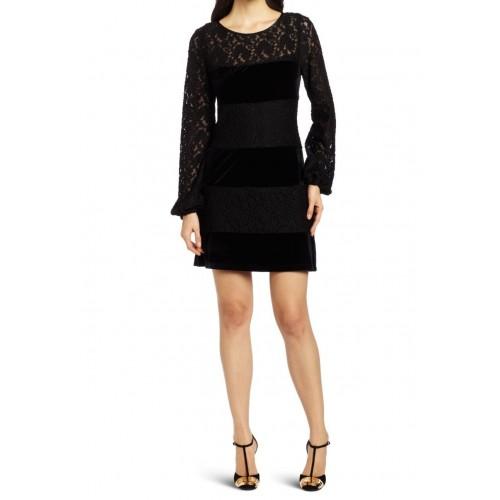 kadife bantlı dantel elbise