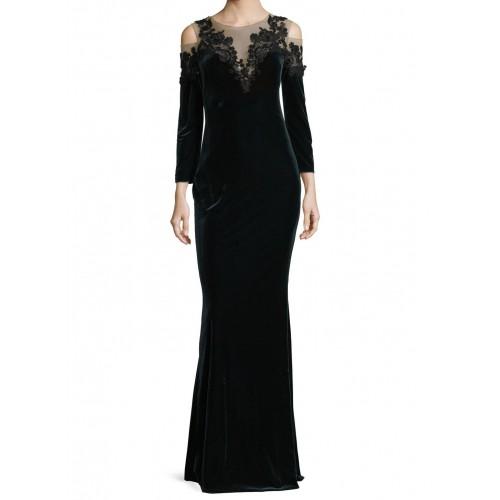 kadife göğüs omuz dekolte abiye elbise